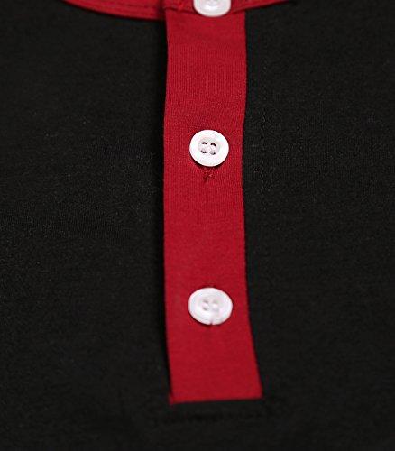 MIEDEON Mens Casual Slim Fit Raglan Baseball 3/4Sleeve Henley T-Shirt