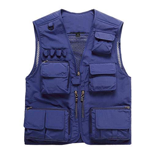 Chalecos de Abrigo para Hombre Chaleco de Pesca de Secado rápido para Exteriores Chaleco de Trabajo con múltiples Bolsillos Chaleco de Pesca Ligero para Viajes al Aire Libre,Royal Blue,XL