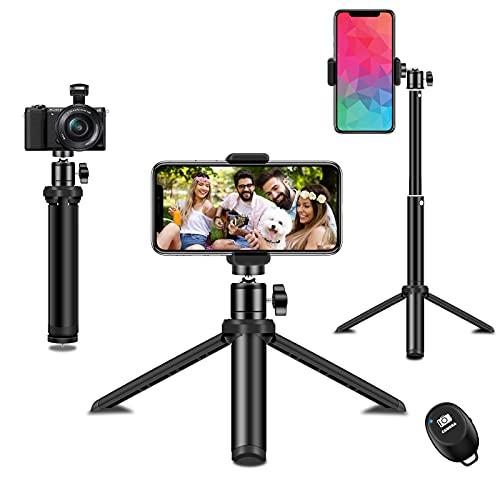 Handy Stativ,SYOSIN Extendable Selfie Stick und Stativ in einem,Smartphone Stativ mit Handy Halterung und Bluetooth Fernbedienung für iPhone Samsung und Kamera