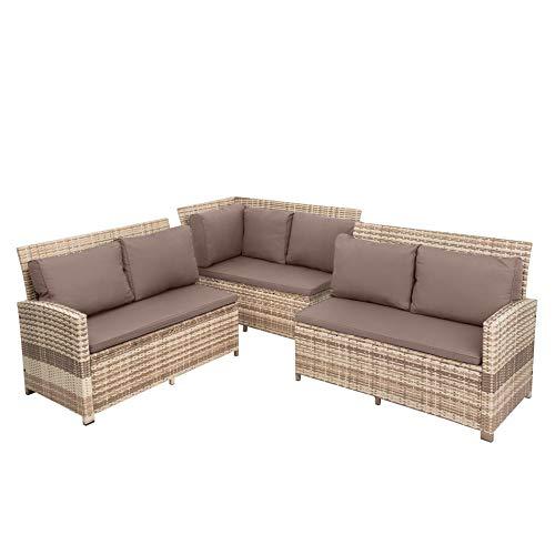 ESTEXO Polyrattan Lounge Set in luxuriöser Optik bestehend aus 1 Couch, 3 Hockern und 1 Tisch, inklusive Sitzpolster, beige - 3