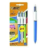 Bic 4 Colours Shine penna a scatto punta media 1,0 mm fusto metallizzato 4 colori di inchiostro in una sola penna confezione da 3