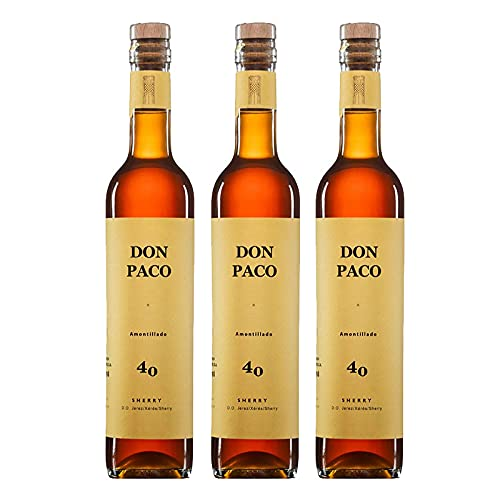 Vino Amontillado Don Paco de 50 cl - D.O. Jerez-Sherry - Bodegas Barrero (Pack de 3 botellas)