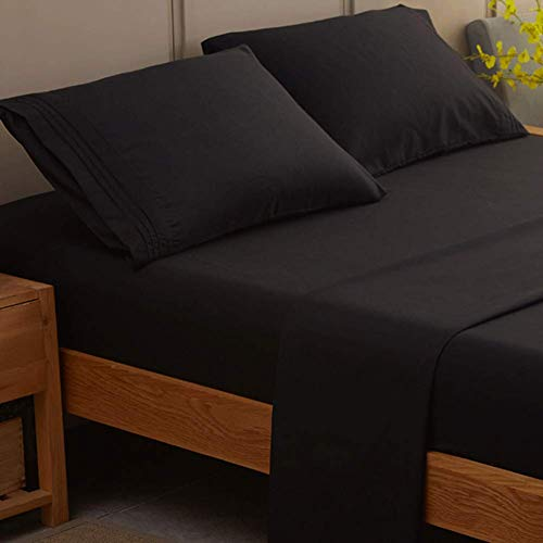 SONORO KATE Bed Sheet Set Super Soft Microfiber 1800 Thread Count Luxury Egyptian Sheets 21-Inch Deep Pocket Wrinkle and Hypoallergenic-4 Piece (Black, King)