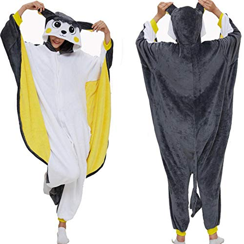 FZH Pijama Kigurumi Pijama de Ardilla voladora para Adultos, Pijama de Dibujos Animados, Pijama Unisex, Disfraz de Cosplay para Fiesta de Halloween-Ardilla voladora_L