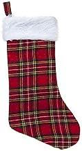 """18"""" Tartan Christmas Stocking with Fur Trim - Christmas Stockings"""