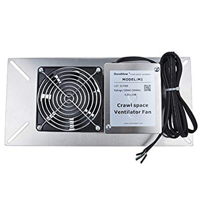 Durablow Stainless Steel Crawl Space Foundation Fan Ventilator + Built-in Dehumidistat