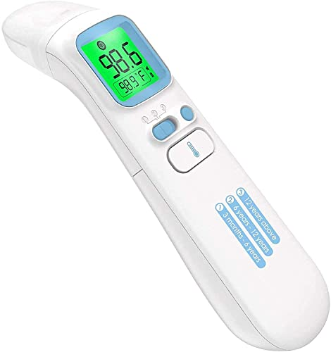 ANMEATE Touchless Thermometer - Forehead Thermometer for Adults,No Touch for Fever, Baby Kids Child with Batteries, Fever Alarm, 35 Groups Data Storage