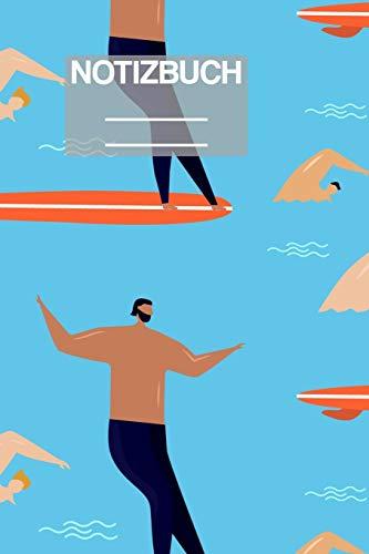 Notizbuch A5 Muster Zeichnung Surf Surfing Schwimmen Swim Männer: • 111 Seiten  • EXTRA Kalender 2020 •  Einzigartig •  Liniert •  Linie •  Linien  • Geschenk • Geschenkidee