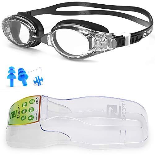 ZABERT Schwimmbrille, W5 Schwimmbrillen für Erwachsene Herren Damen Männer Frauen Kinder 8+ Jahre Schwimmen Brille Antibeschlag UV Schutz Groß Wettkämpfe Schwimmbrille Schwarz Klar Klare Gläser Clear
