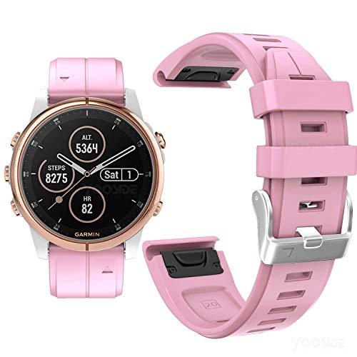 YOOSIDE Fenix 5S Plus/Fenix 6S Silikon Armband, 20mm QuickFit Silikon Sportuhrband Wasserdicht Ersatzband Uhrenarmbänder für Garmin Fenix 5S/5S Plus,Fenix 6S Pro/Sapphire(Rosa)