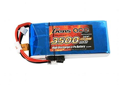 Gens ace B-RX-3500-2S1P Accessoire de Commande à Distance - Accessoires de Commande à Distance (Batterie/Pile, Multicolore, Lithium Polymère (LiPo), 3500 mAh, 7,4 V, 44 mm)