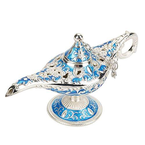 Lámpara de luz Genie, luz de Aladdin Magic Genie Light Metal tallado lámpara de leyenda hueca que desea lámpara de luz Pot Decor(#5)