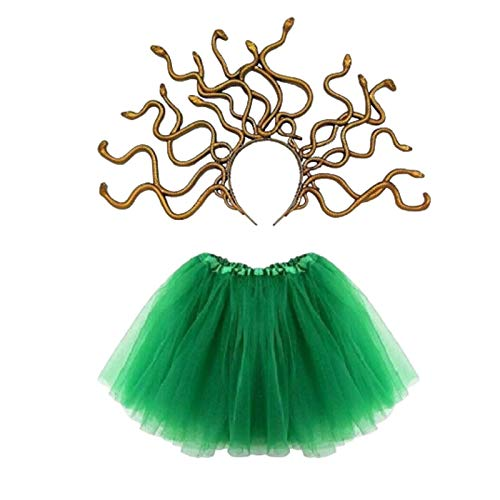 Be-Creative Disfraz de serpiente mito romano griego para nias de MEDUSA para Halloween, disfraz de serpiente britnica  Nias 4+ (diadema Medusa + tut verde oscuro