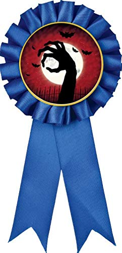 Sale!! Blue Rosette Halloween Ribbon, Zombie Hand Halloween Award Ribbon For Halloween Prizes, 50 Pa...