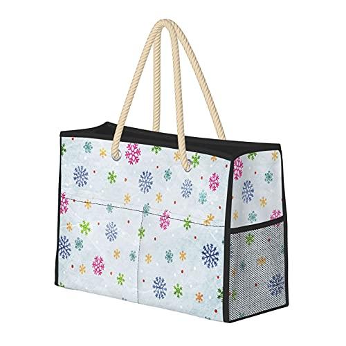 Farbiges Schnee-Muster, wasserabweisend, große Strandtasche, Strohtasche, Strandtasche, Umhängetasche, Handtasche, für Fitnessstudio, Strand, Reisen, Alltag