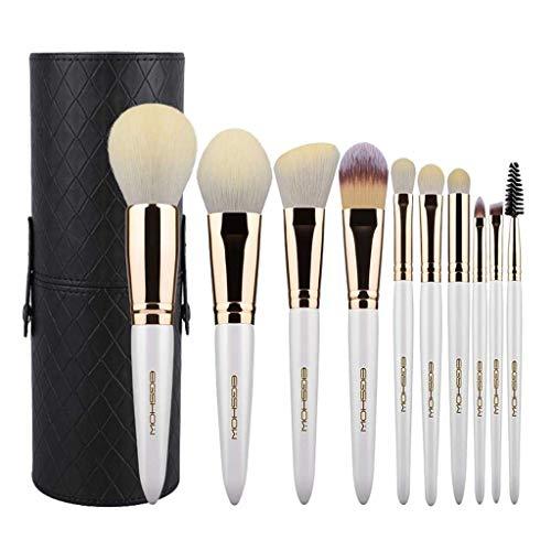 Pinceau de maquillage GCX Set 10 Petits Raisins Ensemble Complet de Set Brosse Douce Maquillage Professionnel Outil Pinceau Beau (Color : White)