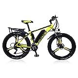 Bicicletas Eléctricas Para Adultos, Para Hombre De Bicicleta De Montaña, De Aleación De Magnesio Ebikes Bicicletas Todo Terreno, 26' 36V 350W Extraíble De Iones De Litio E-Bici,Amarillo,10Ah65Km