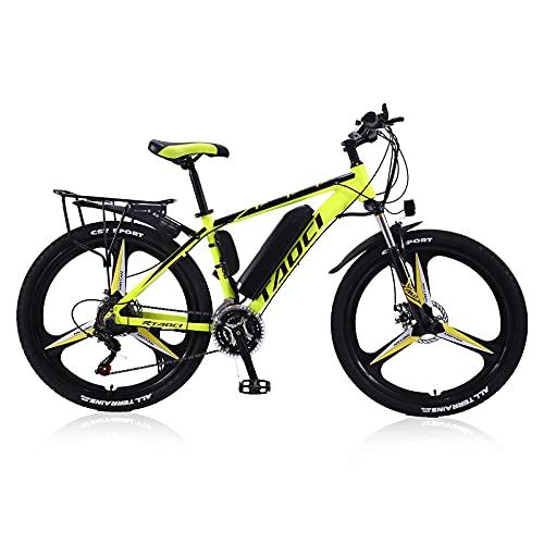 """Elektrische Fahrräder Für Erwachsene, Herren-Mountainbike, Magnesium-Legierung Ebikes Fahrräder All Terrain, 26"""" 36V 350W Austauschbaren Lithium-Ionen-Batterie Fahrrad Ebike,Gelb,13Ah80Km"""
