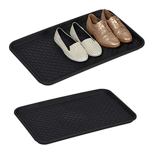 Relaxdays 2 x Schuhabtropfschale groß, mit Profil, für Flur, Schrank, Auto, Schuhwanne gegen Schmutz HBT 3x60x40 cm, schwarz