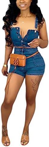 Salimdy Women s 2 PCS Sleeveless Denim Crop Tops Bodycon Hot Shorts Sexy Nightclub Party Tracksuit product image