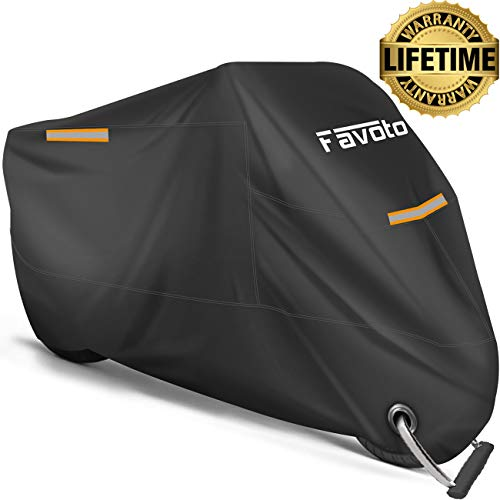 "Favoto Motorcycle Cover All Season Universal Weather Premium Quality Waterproof Sun Outdoor Protection Durable Night Reflective with LockHoles amp Storage Bag Fits up to 965"" Motorcycles Vehicle Cover"