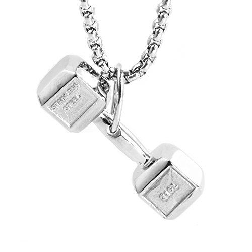 LAMUCH Silber Fitness Fitnessstudio Hantel Gewicht Edelstahl Anhänger Halskette Unisex Für Herren Damen
