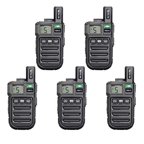 Retevis RB615 Walkie Talkie Mini PMR446 Radio Largo Alcance, Walkie Talkie con Alarma de Emergencia de Vibración de Clonación Inalámbrica, Radio de 2 Vías para Ciclismo, Tractor(Negro, 5Piezas)