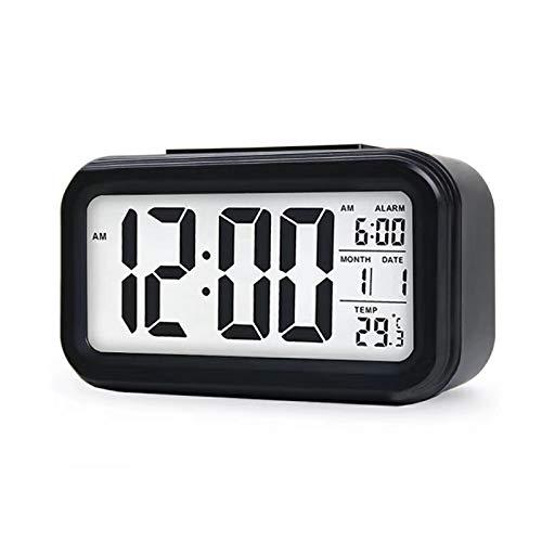 Enllonish Smart Digital Wecker Snooze 5 Minuten, Digital-Wecker mit Extra großem Display, Snooze, Datumsanzeige, Temperatur, Reiseuhr für Kinder Studenten und Erwachsene-Schwarz