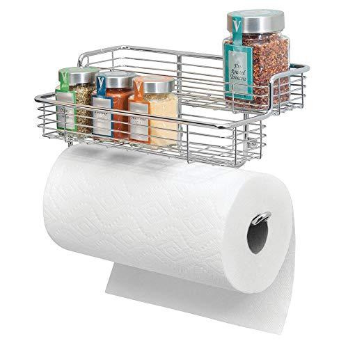 mDesign Küchenrollenhalter – hochwertiger Papierrollenhalter mit integriertem Gewürzregal aus Metall – praktischer Küchenhelfer – silberfarben