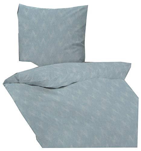 Dormisette Bettwäsche Fein Flanell Jacquard Biber Baumwolle 155 x 220 Blau