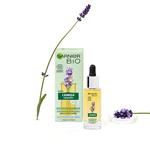 Garnier BIO Aceite de Rostro Reafirmante con Aceite Esencial Lavanda y de Argán Ecológicos y Vitamina E - 30 ml