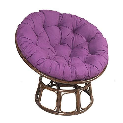 Cojín redondo sólido para silla de patio Papasan al aire libre con relleno grueso para colgar en el patio, hamaca columpios, cojines para interior y exterior (sin silla), color morado, 120 cm