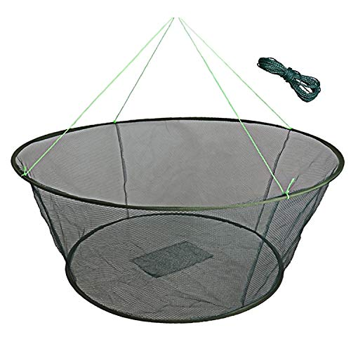 EASY BIG Foldable Fishing Net Hand Net - Crab Net Fish Net with Fishing Rope and Handle for Fishes, Shrimps, Crabs (Green, Top Dia:39.37' Bottom Dia:31.5' Heights:13.78')