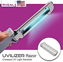Rveal UVILIZER Razor | Handheld Sterilizer Mini UV Light Sanitizer 99.99% of Germs (Disinfect w/Foldable, 2W Long-Life UV-C Light Bulb, Uses 4 x AAA Batteries, Auto-Off)