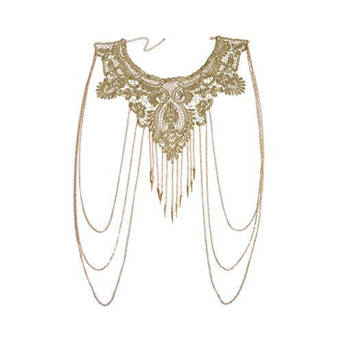 JOJO & LIN Gold Fine Chain with Yellow Flower Lace Bikini Body Chain Necklace Jewelry
