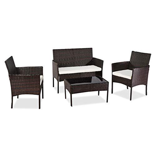 HTTIB Juego de muebles de jardín de ratán impermeable, 4 piezas, juego de mimbre de ratán para exteriores, 2 sillones, 1 sofá de doble asiento y 1 mesa de centro de cristal templado (color marrón)