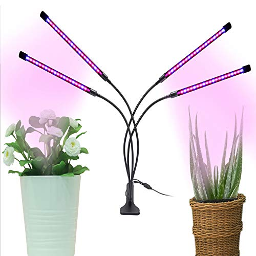 Slakr Lámpara para plantas con 4 cabezales, luz LED para plantas de interior con temporizador, 3 tipos de modos, 9 intensidades de luz, lámpara para jardinería