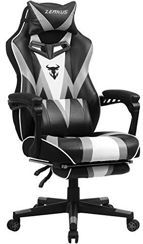 Gaming Stuhl für Erwachsene, Gaming Stuhl mit Massage, Computer Stuhl mit Fußstütze, , Ergonomisch Gaming Stuhl, Hohe Rückenlehne Gaming stühle, E-Sport Gamer Stuhl, Gaming Schreibtisch Stuhl (Grau)