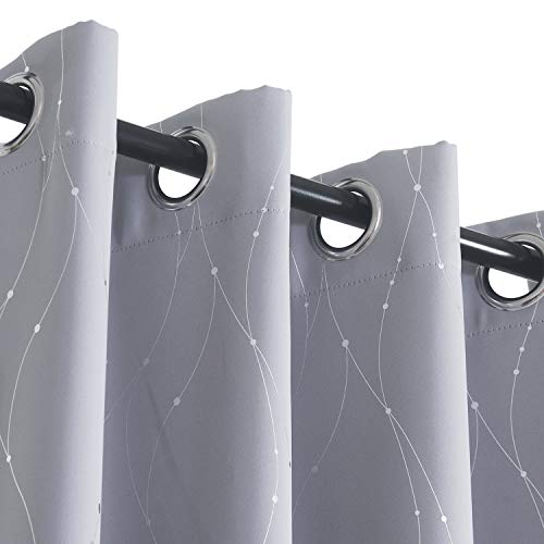 Blackout Curtains Grommets with Dots Pattern for Bedroom/Living Room, Sliver Wave Line Light Blacking Thermal Insulated Drapes for Bedroom and Sliding Glass Door (W50 x L84 2 Panels, Gray)