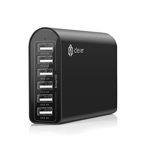 iClever 6-Port 50W 10A Desktop USB Ladegerät Reise-Ladegerät Wand Charger mit SmartID-Technologie für iPhone 6S, 6S Plus, 6 Plus, 6, 5S, iPad Air 2, Mini3, Samsung Galaxy S5 S4 S3, Note 4 3, HTC One, Schwarz
