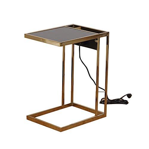 QULONG Table D'appoint pour Canapé D'appoint, Côté Table De Nuit, Plateau en Verre + Cadre en Métal pour Salon/Balcon/Dortoir 22,8 Pouces,Bronze