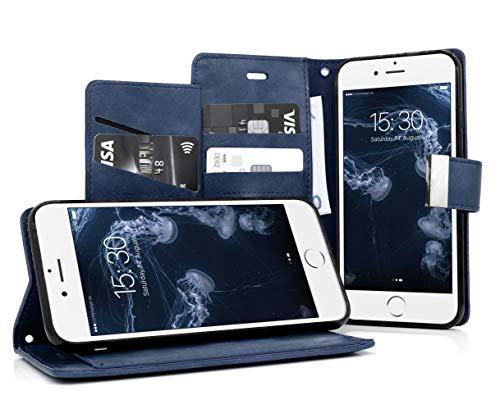 MyGadget Funda Flip Cierre Magnético para Apple iPhone 6 6s en Cuero Sintético PU - Carcasa Tarjetero con 5 Bolsillos y Soporte Plegable Anti Golpes - Azul