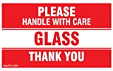 Kenco 3' X 5' Please Handle with Care Glass Thank You Stickers for Shipping and Packing - 500 Adhesive Labels Per Roll