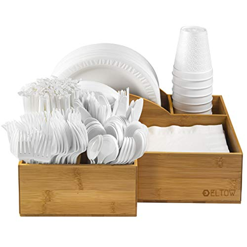 Eltow Bamboo Plate and Cutlery Organizer: Large Kitchen Spoon, Fork, Knives and Cups Holder - Stylish and Sturdy Bowl, Napkin and Tableware Dispenser - Home, Restaurant, BBQ and Picnic Plate Organizer
