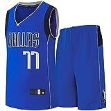Jersey de Baloncesto para Hombre, para Dončić 77 para Dallas Foreard/Defensor Uniforme de Entrenamiento, Juego de Camiseta de Baloncesto Swing, Chaleco de balonces Blue-M