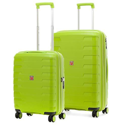 Roncato Spirit - Juego de 2 maletas rígidas con 4 ruedas, color verde, ampliable con cierre TSA ultraligero