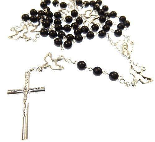 R Heaven - Rosario de los siete dolores de cuentas de collar - servitas - plateado con conectores paloma santos