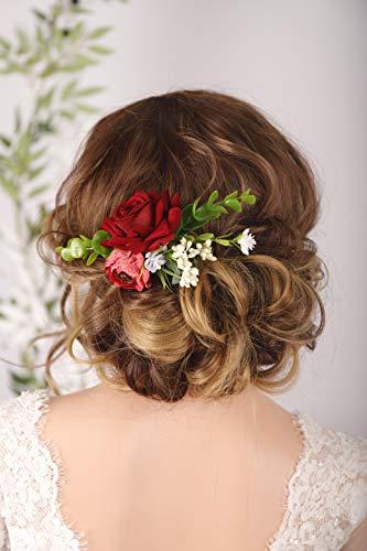 BERYUAN Broche para el pelo de rosas falsas para mujer, diseño de flores, accesorio para el pelo, ideal como regalo para su fiesta, para novia, dama de honor y niñas (1)
