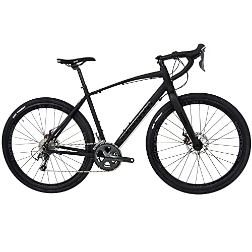 Tommaso Illimitate Shimano Tiagra Gravel Adventure Bike with Disc Brakes, Extra Wide Tires, and Carbon Fork, Perfect for Road Or Dirt Trail Touring, Matte Black - Small