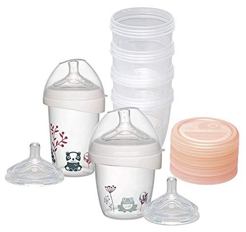 NIP first moments Flaschenset für Neugeborene, 150ml + 270ml Babyflasche, Weithalssauger in Gr. S + M, 4x Muttermilchbehälter 150ml